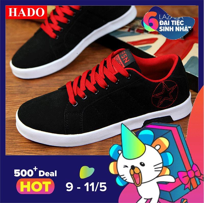 Giày Sneak Nam Thời Trang DOHA Shop SDN29029 Đen Phối Đỏ