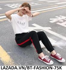 Quần Dài Nữ Thun Phom Rộng Jogger Thể Thao Thời Trang Hàn Quốc – BT Fashion (Sọc Bo – 02A)