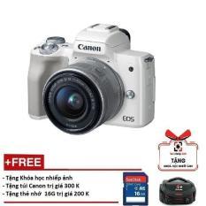 Canon EOS M50 kèm Lens 15-45mm – Màu trắng (Hàng Canon Lê Bảo Minh)-Tặng khoá học nhiếp ảnh EOS + Thẻ SD 16GB + Túi