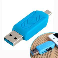 Đầu Đọc Thẻ Nhớ TF SD OTG 2 Trong 1 Đầu Cắm Kép USB xanh dương