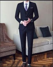 Bộ vest nam màu đen ( áo vest + quần + Gile + cà vạt + nơ )
