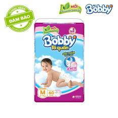 [MỚI] Tã quần Bobby (hương trà xanh) gói siêu lớn M-60 miếng (6 – 10kg)