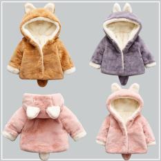 Áo khoác lông, áo lông thời trang, áo lông giữ ấm tai thỏ cho bé siêu đáng yêu