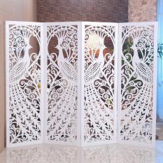 Bộ 3 tấm vách bình phong Chim công 180x50cm (Tặng kèm bộ chân vách) – HOME DECOR