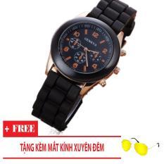 Đồng hồ nữ dây silicon Geneva Khởi My giá rẻ (Dây Đen, Mặt Đen) + Tặng Kèm Mắt Kính