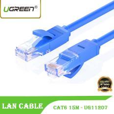 Dây cáp mạng CAT6 UTP 2 đầu đúc sẵn Ugreen NW102 11207 – dây tròn màu xanh 15M tốc độ 1 Gbps