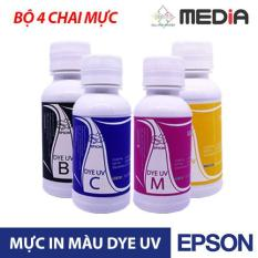 Bộ 4 Chai Mực In Phun Màu Media Cho Máy In Epson DYE UV (100ml)