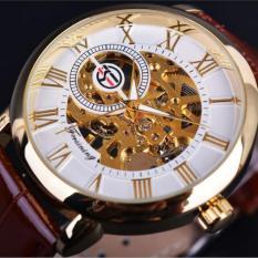 Đồng hồ cơ nam Forsining H099M DÂY DA lộ máy (M Mặt trắng dây da nâu)