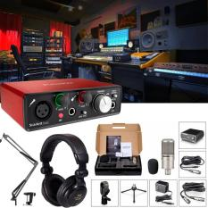 Bộ combo thu âm tại nhà chất lượng tương đương ở các phòng thu âm, Studio chuyên nghiệp với Soundcard Focusrite Scarlett Solo và Micro thu âm cao cấp Takstar PC-K200 Full bộ Kèm Chân đế kẹp mic và tai nghe kiểm âm chuyên dụng