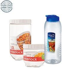 Bộ 2 hộp thực phẩm và 1 bình nước Lock&lock Interlock