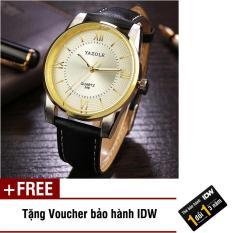 [Có video quay thật] Đồng hồ nam dây da cao cấp Yazole IDW 9541 + Tặng kèm voucher bảo hành IDW