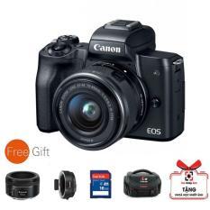 Máy ảnh Canon EOS M50 kèm Lens 15-45mm – Màu đen (Hàng Canon Lê Bảo Minh)-Tặng khoá học nhiếp ảnh EOS + Thẻ SD 16GB + Túi + ngàm Viltrox+ Lens 50mm STM