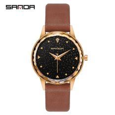 Đồng hồ nữ SANDA dây da mặt vát khối 3D đính đá lấp lánh STT-SD229
