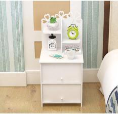 Tủ đầu giường cánh hoa 2 ngăn tủ màu trắng thanh lịch 504-2B (75×34,5x35cm) – HOME DECOR