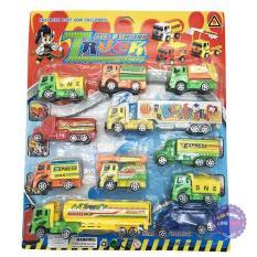 Vỉ đồ chơi 11 xe tải chở hàng hóa bằng nhựa chạy trớn – ĐỒ CHƠI CHỢ LỚN