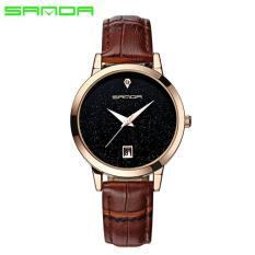 Đồng hồ nữ SANDA JAPAN SAKT194 Mặt kim tuyến siêu sang – dây trắng, tặng dây chuyền tỳ hưu thạch anh
