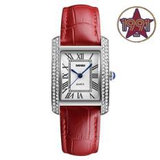 Đồng hồ nữ SKMEI 1281 viền đính đá cao cấp – Dây đỏ viền trắng. Tặng kèm vòng tay thạch anh