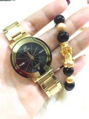 Đồng hồ nam Halei dây thép- TẶNG 1 vòng tỳ hưu phong thủy may mắn (dây vàng mặt đen)
