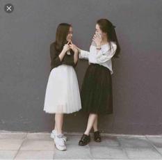 Chân váy dài ren công chúa TULLE ( freesize ) màu trắng