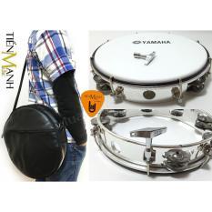 Combo Trống lắc tay và Bao đựng Lục Lạc Gõ Bo Tambourine Yamaha MT6-102A (Trắng – Trống chơi nhạc chế gõ po – Xipo – Tặng móng gẩy Tiến Mạnh Music)