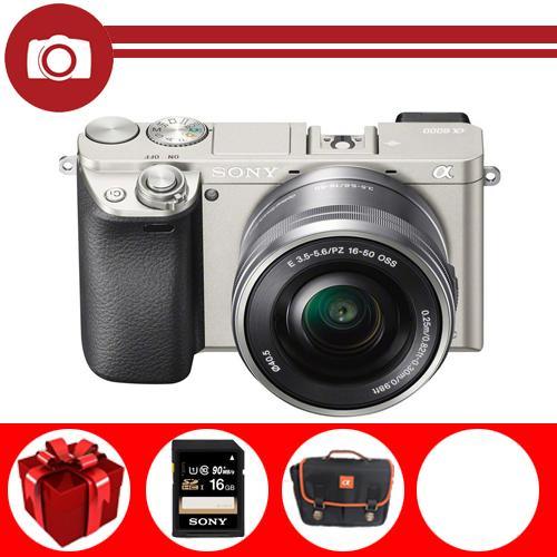 Máy ảnh Sony Alpha A6000 Kit 16-50mm F3.5-5.6 PZ OSS (Bạc) (Hãng phân phối chính thức) – Thẻ nhớ Sony 16GB, túi đựng máy