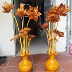đôi lọ hoa sen gỗ mít 11 bông hoa lá