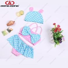 Áo tắm váy bơi cho bé nữ 2 – 6 tuổi + Kèm mũ, Áo bơi nơ họa tiết chấm bi đáng yêu – DONGDONG
