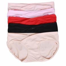 Bộ 5 Quần Lót Cotton Cho Bà Bầu lưng chéo không gây chèn ép bụng Chất liệu thoáng mát co giãn tốt mềm mại