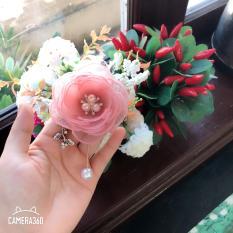 Cài áo hoa hồng cánh voan màu hồng HaVu Handmade