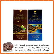 Combo 2 thanh Chocolate đắng 70% cacao + Sữa 200g Figo