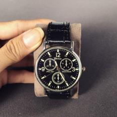 Đồng hồ nam dây da Geneva giá rẻ (Dây Đen, Mặt Đen)