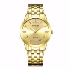 Đồng hồ namHalei dây kim mặt vàng sang trọng quý phái