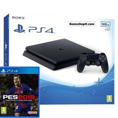 COMBO Bộ Máy Chơi Game Playstation PS4 slim 500GB Model 2106A (Đen) + Kèm Đĩa Game PES 2019