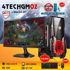 Máy tính chơi Game 4TechGM02 core i5, ram 8GB, hdd 500gb, vga GT730, màn hình LG 24 inch(chuyên LOL, Fifa, Stream) – Tặng phím chuột Gaming DareU.