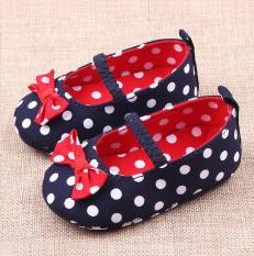 Giày tập đi cho bé gái Xanh chấm bi Trắng- GTD27