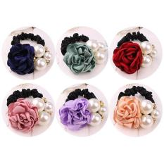 Buộc tóc hoa hồng ngọc trai (Hồng phấn)