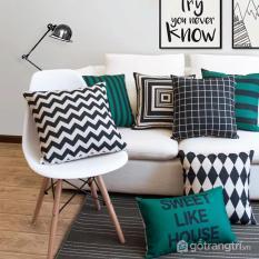 Gối tựa lưng sofa họa tiết bằng vải nỉ cao cấp