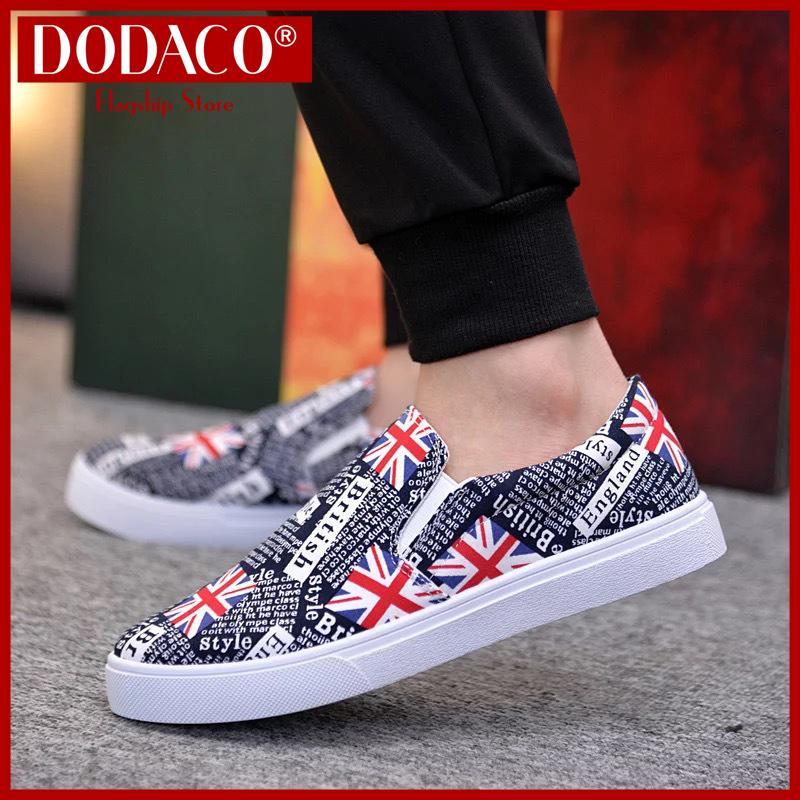 Giày mọi nam đế bằng DODACO LVS0007 Giày lười đẹp giá rẻ mẫu mới hot trends 2019 màu đen xám...