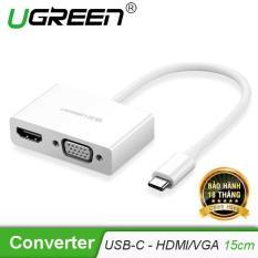 Bộ chuyển đổi USB Type C sang HDMI và VGA dài 15cm UGREEN MM123 30843