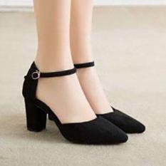 Giày cao gót vuông LT 7 phân gót sọc đơn đen