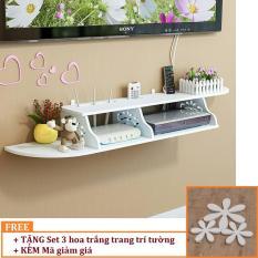Kệ DVD, kệ tivi treo tường TẶNG KÈM Set 3 gỗ trang trí tường hoa trắng HOME DECOR