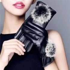 Găng tay da nữ cảm ứng dễ thương (Đen)
