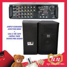 Dàn karaoke gia đình – Dàn karaoke bluetooth – Dàn karaoke 3 tấc giá rẻ Amply Avector 8000 Và Loa NOVIO PRO AUDIO 3 tấc sơn Tặng 10 mét dây
