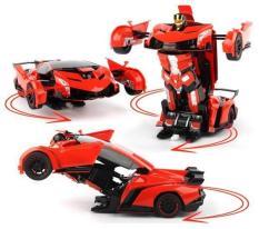 Xe Ôtô Biến hình Transformer biến hình robot dùng pin có nhạc có đèn cho bé