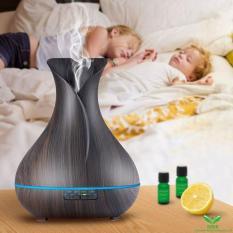 Máy phun sương khuếch tán tinh dầu bình hoa đen chứa 400ml lộc không khí, tạo ẩm tặng 10ml tinh dầu sả Ngọc Tuyết