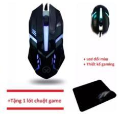 Chuột chơi game có dây Đèn Led Mouse gaming SCH-CM28 (Đen) + Tặng 1 miếng lót chuột