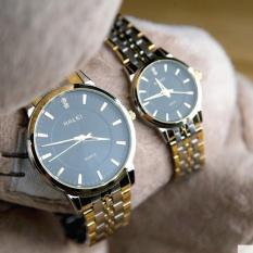 Cặp Đồng hồ Halei nam nữ cao cấp chống xước chống nước tuyệt đối (Giá 1 đôi) dây demi mặt đen