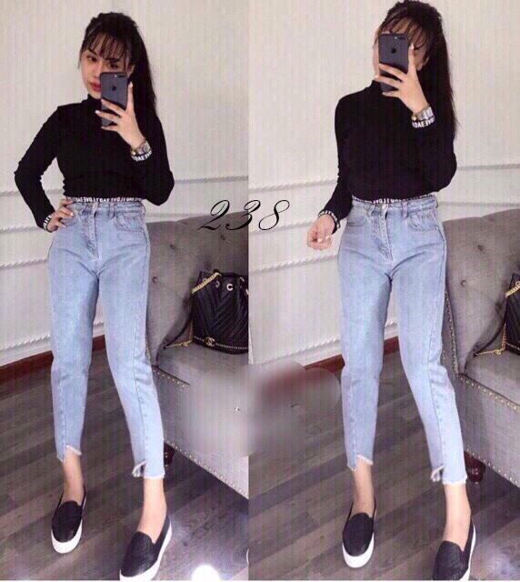 Quần Jeans Nữ Dạng Baggy Lai Xéo Cao Cấp OHS238