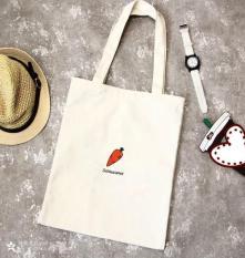 Túi tote nữ vải CANVAS in hình củ cà rốt (Trắng)