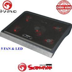 Đế tản nhiệt Laptop đẳng cấp với 5 Fan và đèn Led Marvo FN-33 Scopiron